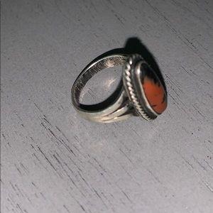 Sterling silver bloodstone ring vintage 4 1/2 oval